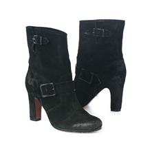 SS Black Double Buckle Ankle Boots 8.5cm Heel