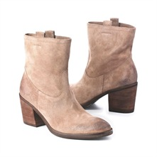 SS Putty Distressed Pull On Ankle Boots 8cm Heel