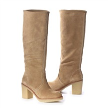 SS Beige Suede Boots 4cm Heel