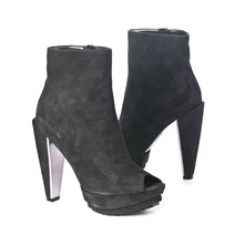 SS Black Peep Toe Platform Ankle Boots 13.5cm Heel