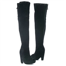 SS Black Peep Toe Studded Over the Knee Boots 13.5cm Heel