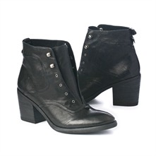 SS Black Leather Laceless Ankle Boots 7cm Heel