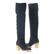 SS Navy Over the Knee Boots 6cm Heel