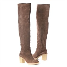 SS Beige Suede Over the Knee Boots 6cm Heel