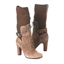 SS Beige/Khahki Suede/Knit Boots 8cm Heel