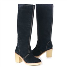 SS Navy Suede Boots 4cm Heel