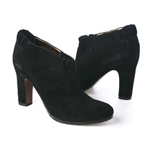 SS Black Suede Elasticated Ankle Boots 8cm Heel