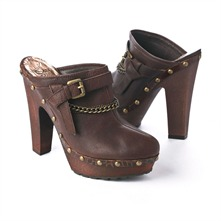 SS Chocolate Buckle/Chain Clog Mules 12.5cm Heel