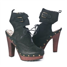 SS Black Clog Style Cut-out Ankle Boots 12.5cm Heel