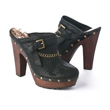 SS Black Buckle.Chain Clog Mules 12.5cm Heel