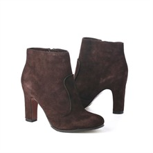 SS Chocolate Suede Piped Ankle Boots 8cm Heel