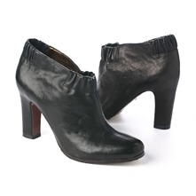 SS Black Leather Elasticated Top Ankle Boots 8cm Heel