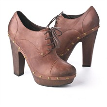 SS Brown Leather Lace-up Clog Shoes 12.5cm Heel