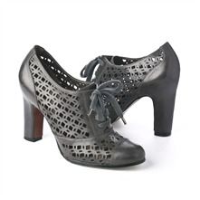 SS Charcoal Leather Cut-out Shoes 8cm Heel