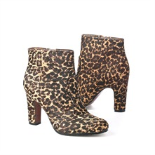SS Brown/Black Leopard Print Pony Ankle Boots 8cm Heel