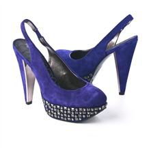 SS Royal Blue Studded Slingback Shoes 12.5cm Heel