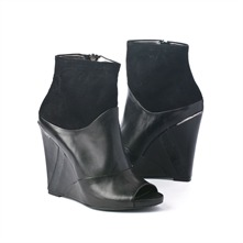 SS Black Peep Toe Wedge Ankle Boots 12.5cm Heel