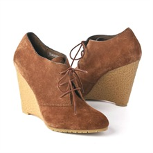 SS Tobacco Lace-up Wedge Shoe Boots 11.5cm Heel