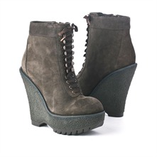SS Slate Grey Hiking Style Wedge Ankle Boots 12.5cm Heel