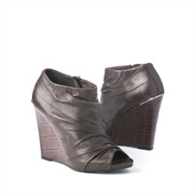 SS Brown Ruched Wedge Ankle Boots 11.5cm Heel