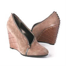 SS Taupe Suede/Croc ZipTrim Boots 10cm Heel
