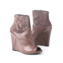 SS Taupe Peep Toe Wedge Ankle Boots 12.5cm Heel