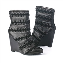 SS Black Leather Lace Weaved Ankle Boots 11.5cm Heel