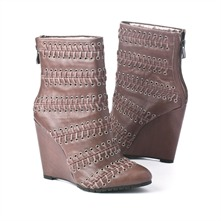 SS Taupe Leather Lace Weaved Ankle Boots 11.5cm Heel