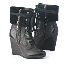 SS Black Croc Lace-up Cuff Ankle Boots 11.5cm Heel