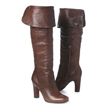 SS Brown Fold Over Cuff Knee High Boots 8cm Heel