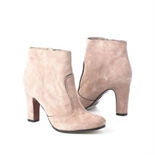 SS Cream Suede Zip-up Ankle Boots 4cm Heel
