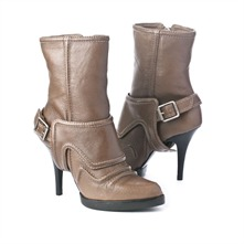 SS Beige Leather Buckle Boots 9.5cm Heel