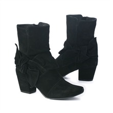 SS Black Bow Ankle Boots 5cm Heel