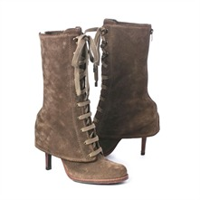 SS Beige Suede Lace-up Boots 9cm Heel