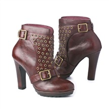 SS Burgundy Eyelet Panel Ankle Boots 10cm Heel