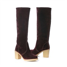 SS Plum Suede Boots 4cm Heel