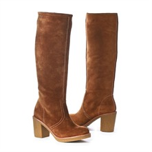 SS Camel Suede Boots 4cm Heel