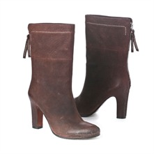 SS Brown Zip Mid Calf Boots 8cm Heel