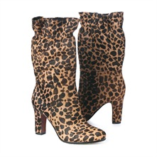 SS Brown/Black Giraffe Print Elasticated Mid Calf Boots 8cm Heel