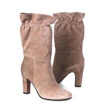 SS Sand Suede Elasticated Mid Calf Boots 8cm Heel