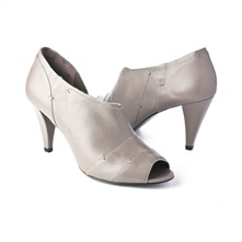 SS Taupe Stitch Peep Toe Shoes 8.5cm Heel