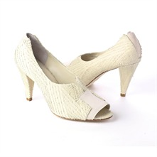 SS Cream Distressed Leather Peep Toe Shoes 8.5cm Heel