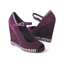 SS Aubergine Suede Studded Peep Toe Shoes 11.5cm Heel