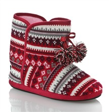 Red/Multi Snowflake Slipper Boots