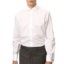 White Double Cuff Twill Cotton Shirt