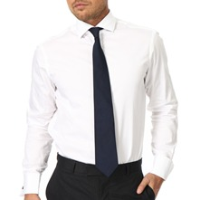 White Twill Double Cuff Black Button Cotton Shirt