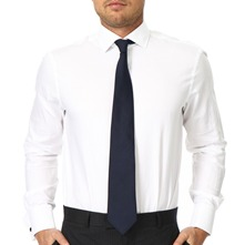 White Micro Herringbone Double Cuff Cotton Shirt
