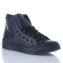 Women's Black Leather Double Upper High Top Trainers