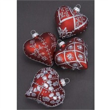 Red/Silver Glass Hearts Christmas Decoration Set