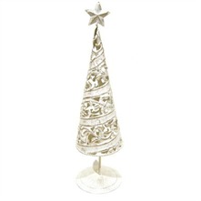 Bronze/White Metal Christmas Tree Tea Light Holder